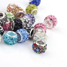 100 Pcs Brass Cores Polymer Clay Rhinestone Large Hole European Beads 10x7mm