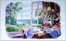 """""""SPRING MORNING"""" WALL TILE PANEL X 6 TILES 15 cm x 15 cm Hand Decorated in UK"""