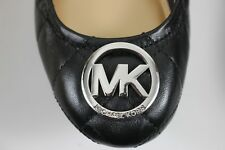 NIB MICHAEL KORS Size 6.5 Women's Black 100% Leather Quilted FULTON Ballet Flat