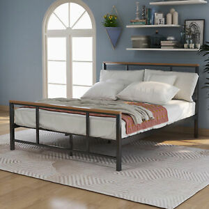 Metal bed with wood decoration (Twin size) Black