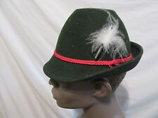 German Bavarian Oktoberfest Trachten Green Alpine Felt Hat With Feather 19""