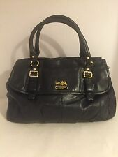 COACH 18621 Madison Black Leather Flap Carryall Shoulder Bag Handbag Satchel