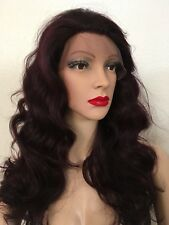 Burgundy 100% human hair Wig.    Lace Front 20 inch long wavy Layered Hair
