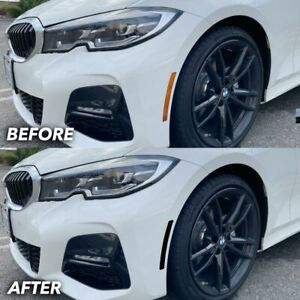 FOR 2019-2021 BMW G20 330i M340i Front Bumper Reflector Overlay Tint BLACK OUT