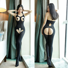 LK _ EG_Femmes Sexy Combinaison Entrejambe ouvert Pyjama TRANSPARENT BAS LACETS