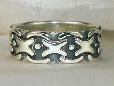 Men's Sterling Silver .925 Black & Silver Band Chain Ring -Size 10.25