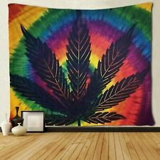 Usa Stock Sunset Leaf Weed Tapestry Art Wall Hanging Tapestries Bedroom Decor