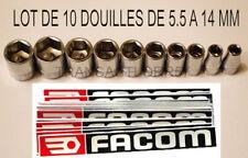 LOT 10 DOUILLE FACOM POUR CLIQUET 1/4 OUTILLAGE 6 PANS CARRE 1/4 NEUF