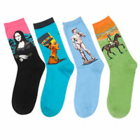 Art Famous Oil Painting Modern Renaissance Van Gogh Mona Lisa Shout Cotton Socks