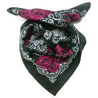Women Lady Girl Retro Rose Flower Freedom Cotton Bandana Hair Headband Wrap