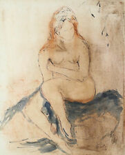 Masood Kohari (India 1939) Ink & Watercolor on Paper of Nude Woman Signed