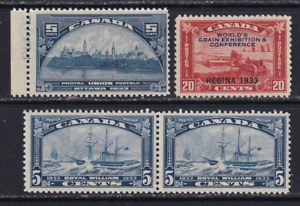 Canada 1933 Issues #202-204  Mostly MNH  CV $140.00  See*
