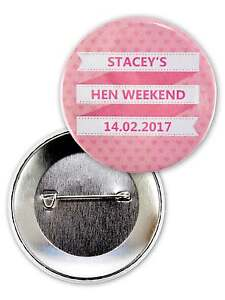 PERSONALISED HEN PARTY BADGES PIN BACK HEN DO BADGE HEN NIGHT BADGES ACCESSORY