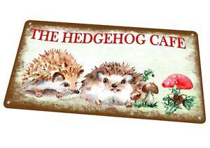 Hedgehog Café Sign Vintage Sign Antique Style Metal Sign Kitchen Plaque Sign