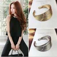 Fashion Women's Jewelry Multilayer Gold Plated Punk Charm Cuff Bangle Bracelet