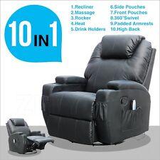 Black Recliner Ergonomic Lounge Swivel Heated W/Control Massage Sofa Chair