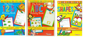 First ABC 123 Writing Activity Books Shapes MAths & English Book