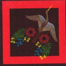 SERVIETTES EN PAPIER OISEAU HERON EN COUTURE. PAPER NAPKINS BIRD HERON SEWING