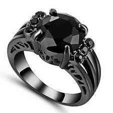 Women's Gorgeous Size 7 Band Black Sapphire 18K Black Gold Filled Wedding Ring