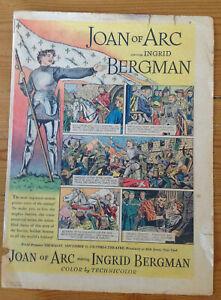 Jeanne d'Arc full tabloid movie ad Lou Fine RARE Ingmar Bergman + one more