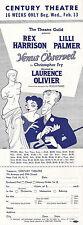 """Rex Harrison """"VENUS OBSERVED"""" Lilli Palmer / Al Hirschfeld 1952 Broadway Flyer"""