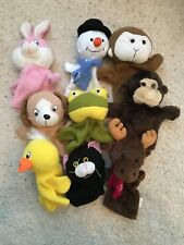 Lot of 9 Plush Hand Puppets -Monkey, Dog, Snowman, Rabbit, Duck, Kitten, Frog 8""