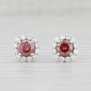 New 2.80ctw Raspberry Pink White Diamond Halo Stud Earrings 14k White Gold