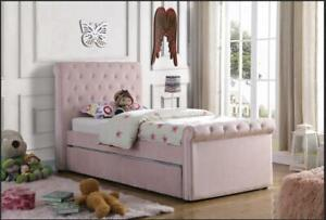 Brand New 3ft Single Velvet Fabric Bed Frame Selina Pink with Trundle