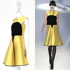 YVES SAINT LAURENT PILATI Runway AW08 yellow black velvet A line dress S US4