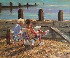 "Original David Aldus Aceite ""gran e hijo"" playa Brighton Guijarro Playa Pintura"