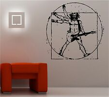Da Vinci Vitruvio Guitarrista Adhesivo Pared Música Guitarra Salón Dormitorio