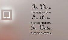 Beer Wine & Water wall art quote sticker vinyl kitchen pub bar