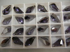 4 swarovski polygon drop pendants(top drilled)21mm tanzanite satin #6015