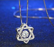 "1CT Diamond Dance Star 925 Sterling Silver Chain 18"" Love Heart Gift MOM-NL256"