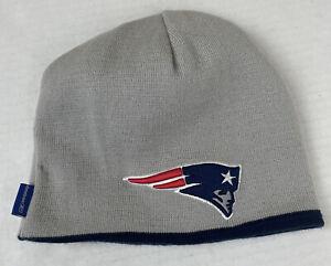 NFL Reebok Reversible New England Patriots Beanie Skull Cap Knit Blue/Gray