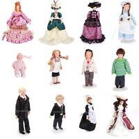 Vintage 1:12 Scale Dollhouse Miniature Figures Porcelain Dolls People w/ Stand