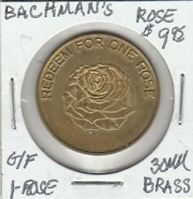 Token - Bachman's Rose - G/F One Rose - 30 MM Brass