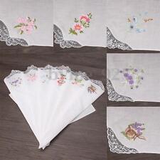 6pcs Ladies Women Vintage 100% Cotton Embroidered  Flower Lace Floral Hankies