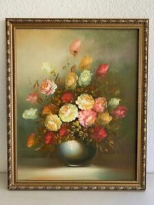 OIL PAINTING SIGNED BY R COX FLORAL BOUQUET GORGEOUS FRAMED VINTAGE ART