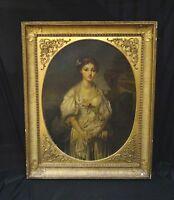 Fine Huge 18th Century French Portrait of A Girl Antique Jean-Baptiste GREUZE