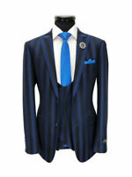 BLUE/BLACK BOLD STRIPE SLIM FIT 3-PIECE SUIT