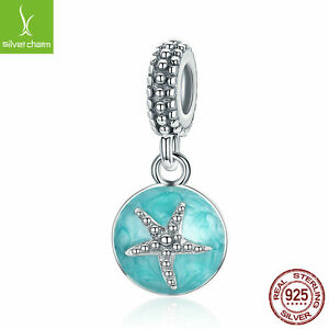 Summer 925 sterling Pave CZ Starfish & Sea Green Enamel Dangle fit Charm Chain