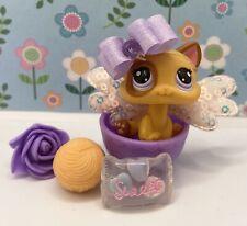 Authentic Littlest Pet Shop # 2414 Orange Baby Kitten Purple Eyes Patch