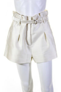 3.1 Phillip Lim  Womens Belted Pleated  Dress Shorts Cream Size 2