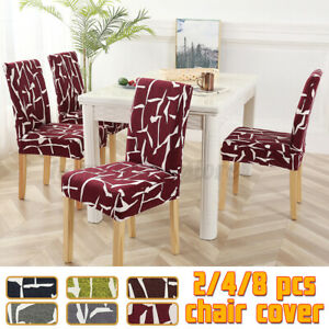 2/4/8Pcs Stretchable Chair Cover Kitchen Dining Seat Cover Restauran Decor
