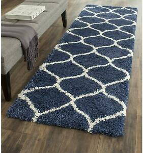 Modern Ultra Soft Blue Color Classic PatternShaggy Rug(2x6FT)Made From Polyester