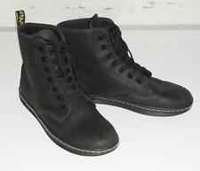 DR. MARTENS~WOMEN'S~GREASY BLACK~LEATHER~CASUAL LACE-UP LIGHTWEIGHT BOOTS~8 RARE