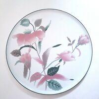 "Mikasa Silk Flowers 12.25"" Round Serving Platter  / Cake Plate Pink Green Japan"