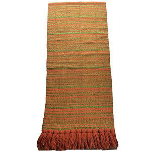 Woven Wall Hanging Tapestry Boho 70s Art Vtg Fiber Orange Green Fringed Thick