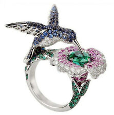 6.5CT Emerald Sapphire Flower Bird 925 Silver Ring Wedding Engagement Size 6-10
